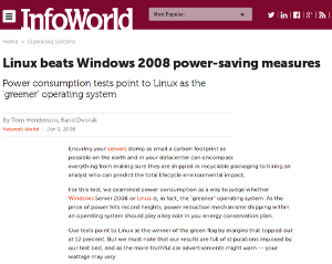 InfoWorld Linux greener than Windows