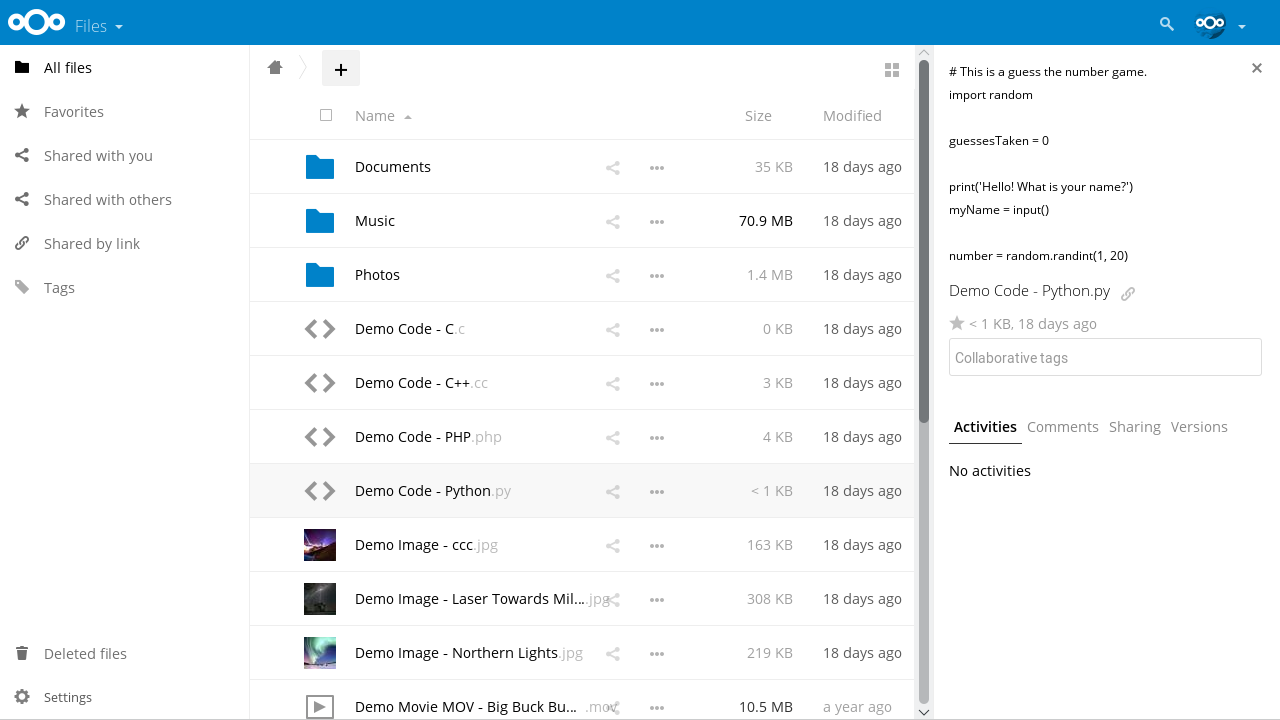NextCloud file previews